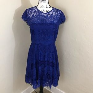 BB Dakota Blue Lace Open Back Skater Dress